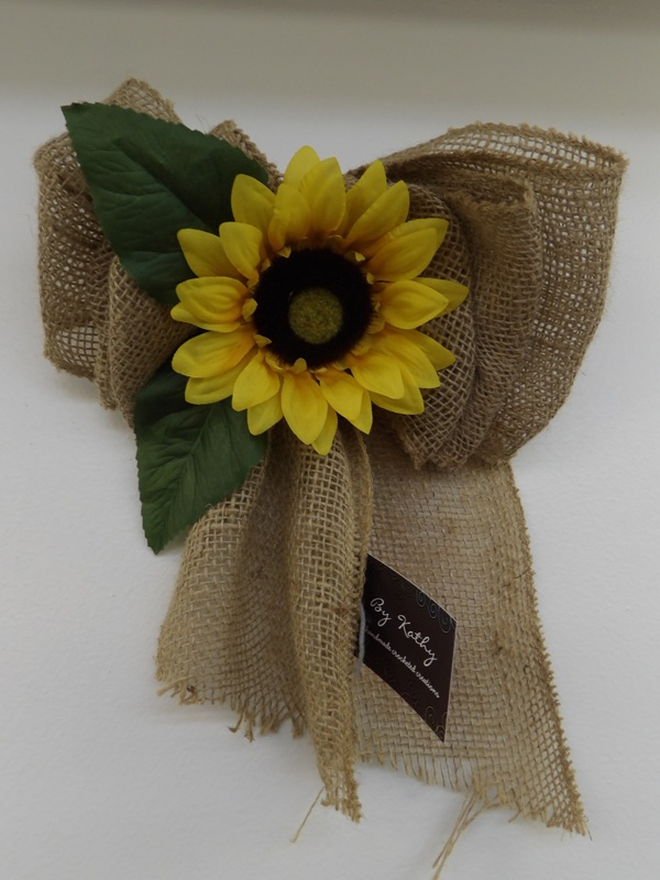 Burlap Bow with Sunflower - Kathy's Creations
