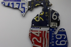 Upper and Lower Peninsula License Plate Art - Recycled Highway