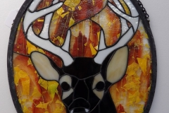 White Tail Buck in Fall - Stain Glass Art