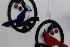 Blue Jay and Cardinal in Ovals - Stain Glass Art