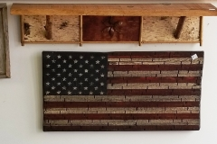 Birch bark shelf and Rustic US Flag