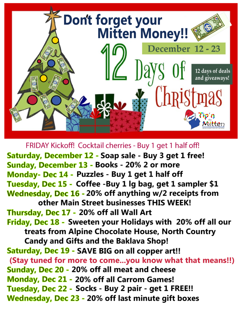 12 Days of Christmas Deals at Tip'n the Mitten