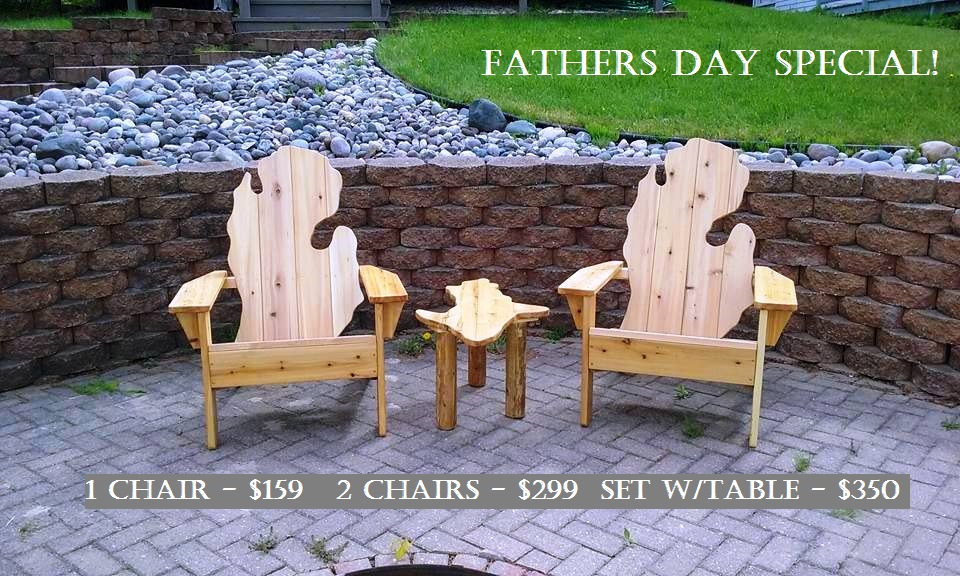 Fathers Day  - Michigan Adirondack Style Chairs on Sale at Tip'n the Mitten